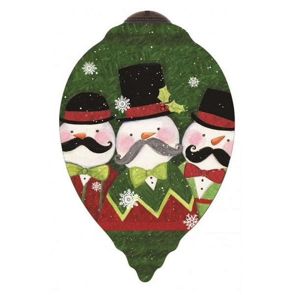 """Ne'Qwa """"Snow-staches"""" Hand-Painted Blown Glass Christmas Ornament #7151157 - green"""
