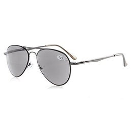 Eyekepper Readers Quality Spring Temples Pilot Style Reading Sunglasses Sun Readers Grey Lens +2.25