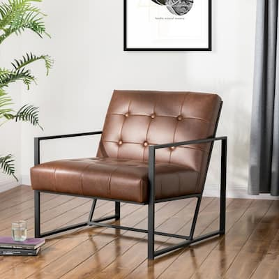"""Glitzhome 30""""H Mid-Century PU Leather Tufted Accent Chair"""