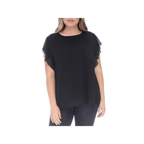 Bobeau Womens Blouse Ruffled Short Sleeves - 1X