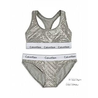 Calvin Klein NEW Silver Women's Size Medium M Bralette Bikini Set