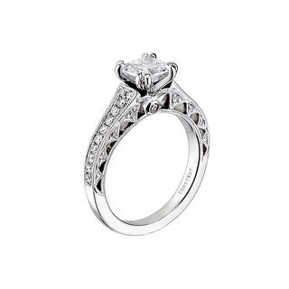 14kt White Gold Ladies 0.47CT Wedding Band with Milgrain from the Haven's Gate Collection by Scott Kay
