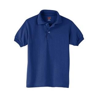Hanes Kids' Cotton-Blend EcoSmart® Jersey Polo - Size - S - Color - Deep Royal