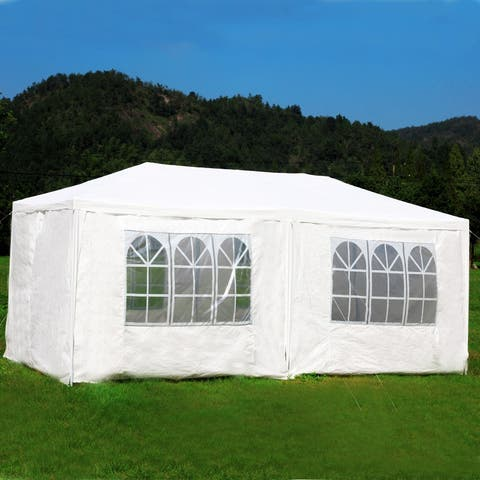 10'x20' White Canopy Party Wedding Tent Pavilion 6 Removable Walls - 20'x10'
