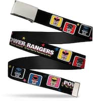 Blank Chrome  Buckle Power Rangers Chibi Blocks W Stars Webbing Web Belt - S