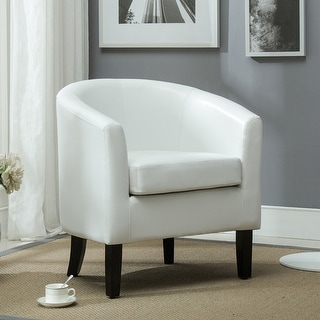 Simple Living Tufted White Faux Leather Guest Chair Free