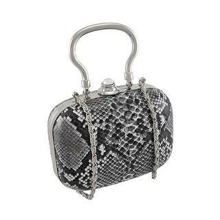 Gray Python Print Clutch Evening Bag