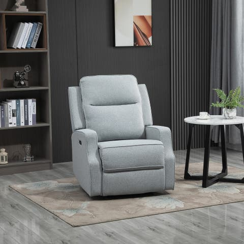 HOMCOM Electric Power Wall Hugger Recliner Chair Armchair Sofa with Linen Upholstered Seat, and Retractable Footrest, Blue