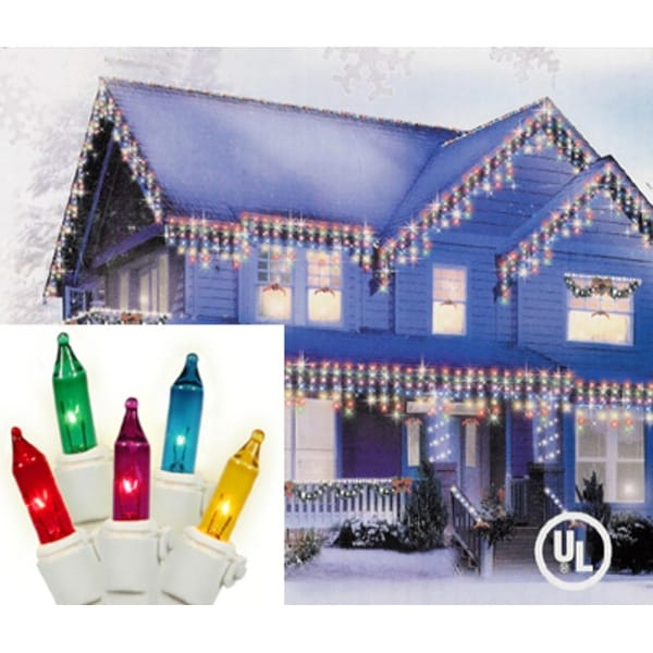 Set of 100 Super Bright Multi-Color Mini Icicle Christmas Lights - White Wire