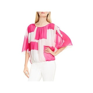 Vince Camuto Womens Blouse Chiffon Abstract Grid