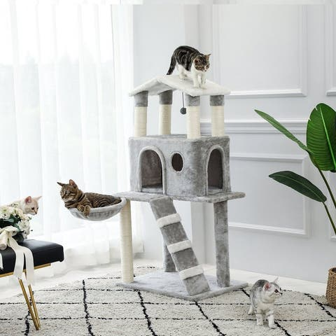 3-Story Cat House Cat Climbing Frame With Toy Ball Net Bag - Grey