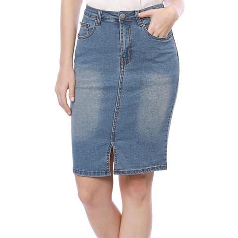 Allegra K Lady Slant Pockets Split Trim Washed Denim Pencil Skirt - Blue