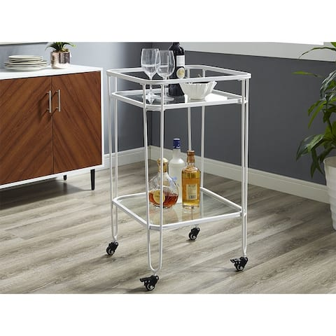 """Offex 35"""" Metal and Glass Square Kitchen Storage Serving Cart - White"""
