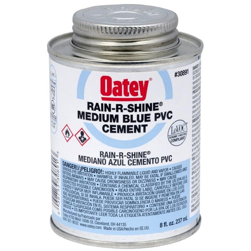 Oatey 30891 Rain-R-Shine PVC Pipe Cement, 8 Oz, Blue