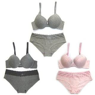 Women 3 Pack Cotton Solid Color Lace Trim Bra Set (More options available)