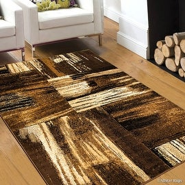 """Brown Allstar Modern. Contemporary Woven Rug. Drop-Stitch Weave Technique. Carved Effect. Pop Colors (7' 10"""" x 10')"""
