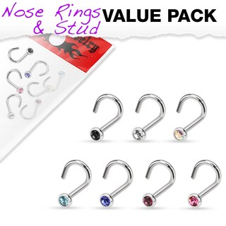 7 Pcs Value Pack of Assorted 316L Surgical Steel Press Fit Gem Nose Screw (2 options available)