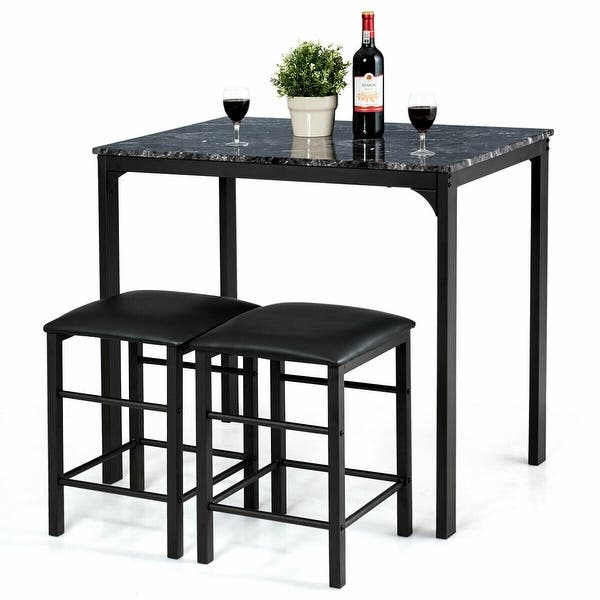 Incredible Shop 3 Piece Counter Height Dining Set Faux Marble Table 2 Ibusinesslaw Wood Chair Design Ideas Ibusinesslaworg
