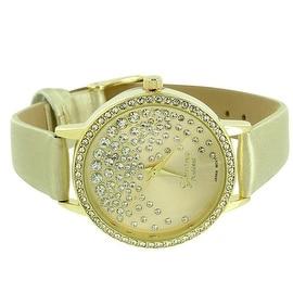 Womens Watch Geneva Lab Diamonds Analog Display Gold Leather Band Quartz Movement