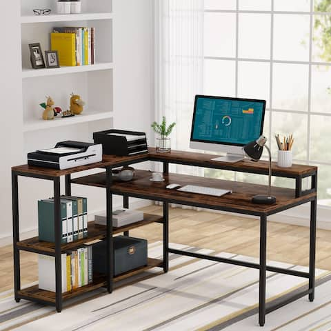 Tribesigns Reversible L Shaped Computer Desk with Storage Shelf and Monitor Stand, Industrial Corner Desk