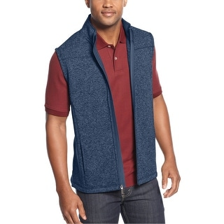 Club Room Jersey Fleece Full Zip Vest Indigo Dye Blue Heather X-Large