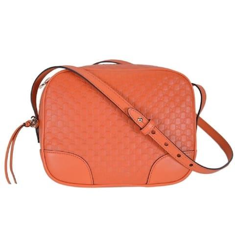 Gucci Bree GG Micro Guccissima Orange Leather Crossbody Bag 449413