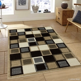 "Allstar Brown / Beige Modern Geometric Grey square design Area Rug (5' 2"" x 7' 2"")"