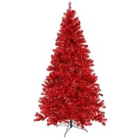 "6' x 44"" Pre-Lit Sparkling Red Artificial Christmas Tree - Red Lights"