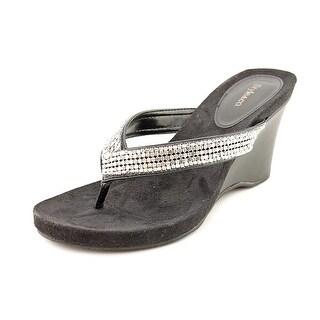 Style & Co Caprii Women Open Toe Canvas Black Wedge Sandal