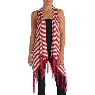 Say What? Womens Juniors Sweater Vest Sleeveless Fringe