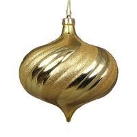 4 ct. Shiny Vegas Gold Glitter Swirl Shatterproof Onion Christmas