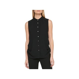 DKNY Womens Button-Down Top Crepe Ruched
