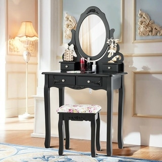 Gymax Vanity Makeup Dressing Table Stool Set w/ Mirror& 4 Drawers & Rose Cushion Black