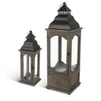 """Set of 2 Brown and Black Decorative LED Lanterns with Handle 28.15"""""""
