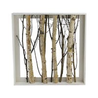 """17.55"""" Standing Mixed Branches in Rustic Wood Frame Table or Wall Decoration"""