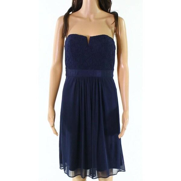 Adrianna Papell Blue Womens Size 12 Split-Neck Lace Sheath Dress