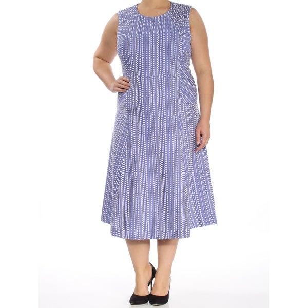 ANNE KLEIN Womens Purple Printed Sleeveless Scoop Neck Below The Knee Fit + Flare Dress Size: 16