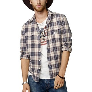 Denim and Supply Long Sleeve Plaid Casual Shirt Tan and Grey Large L