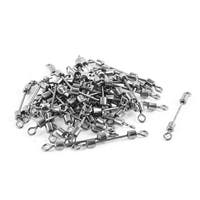 Unique Bargains 3# Fishing Tackle Metal Line to Hook Connector Swivel 50 Pcs