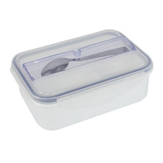 Unique Bargains Household School Plastic Dual Compartments Microwave Lunch Box Blue Clear White
