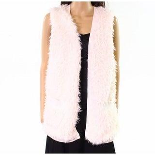 Kensie NEW Ivory Womens Size S/M Faux-Fur Open Front Vest Sweater