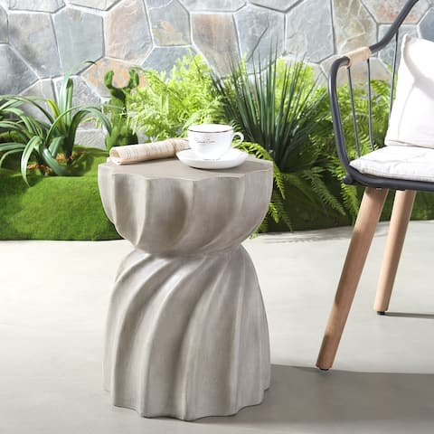 "Canis Outdoor Contemporary Lightweight Concrete Accent Side Table by Christopher Knight Home - 14.00""W x 14.00""D x 18.50""H"