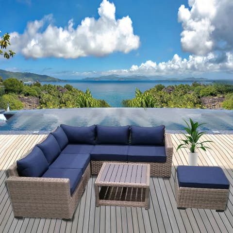 Patio8 Outdoor Sectional 7pcs Gray Wicker Patio Furniture Set With Ottoman