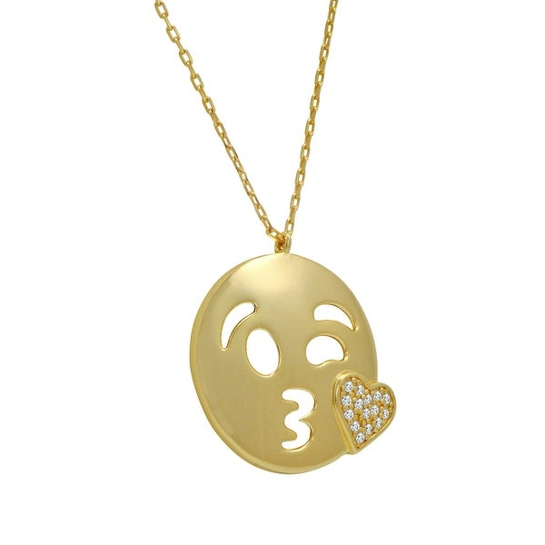 Amanda Rose Cubic Zirconia Kiss with a Wink Emoji Pendant-Necklace in Gold Over Sterling Silver on an 18 inch chain