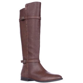 I35 Ameliee Wide Calf Knee High Side Studded Boots - Cognac