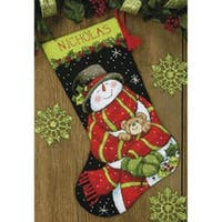 """Snowman & Bear Stocking Needlepoint Kit-16"""" Long Stitched In Floss"""