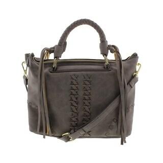Danielle Nicole Womens Cara Satchel Handbag Faux Leather Fringe - MEDIUM