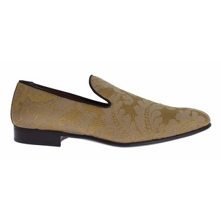 Dolce & Gabbana Yellow Gold Silk Baroque Loafers Shoes - 42.5