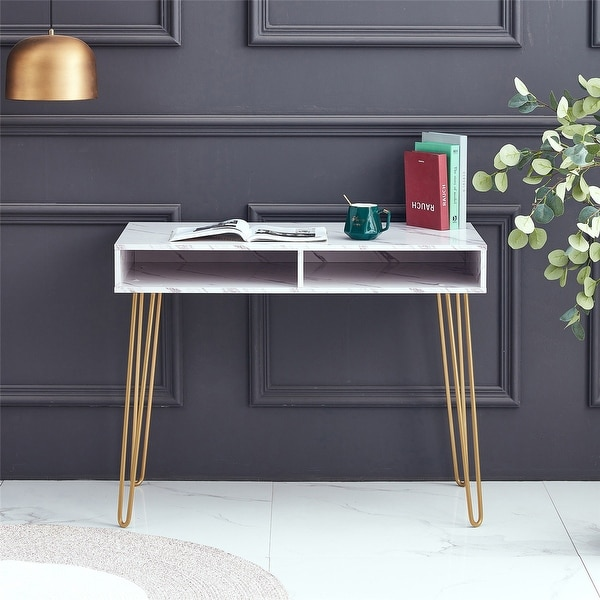 Modern Side End Table with MDF Top and Sturdy Glod Metal Legs. Opens flyout.