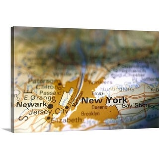 """""""New York on map"""" Canvas Wall Art"""